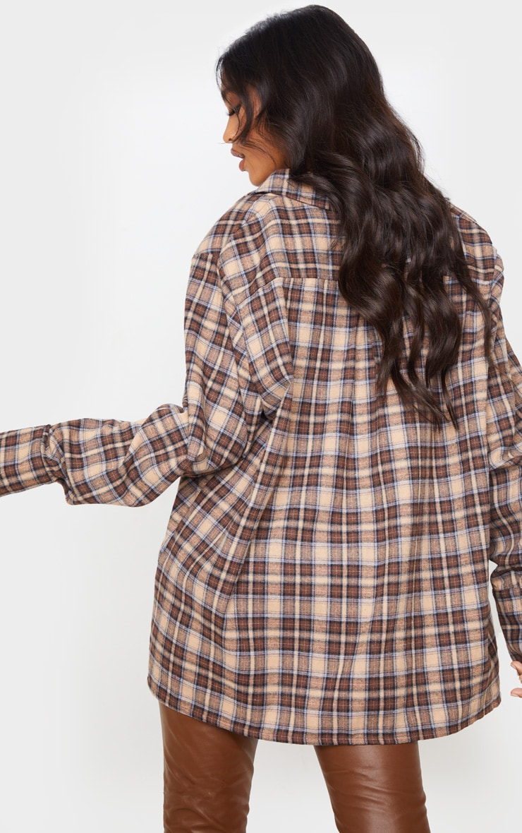 Brown Checked Oversized Shirt 1