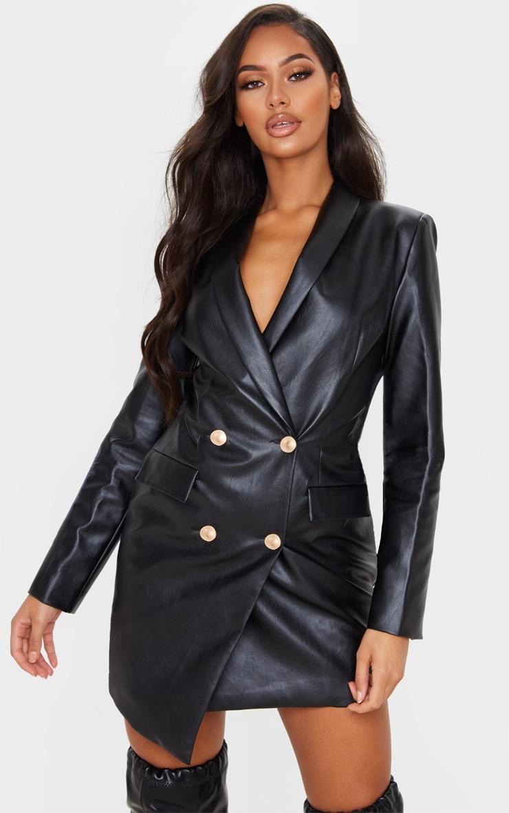 Black PU Gold Button Long Sleeve Blazer Dress 1
