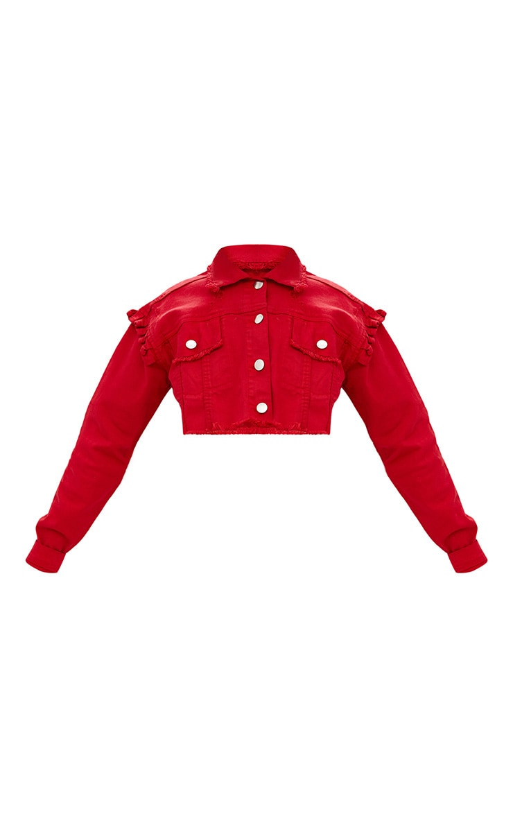 Red Ruffle Cropped Denim Jacket  3