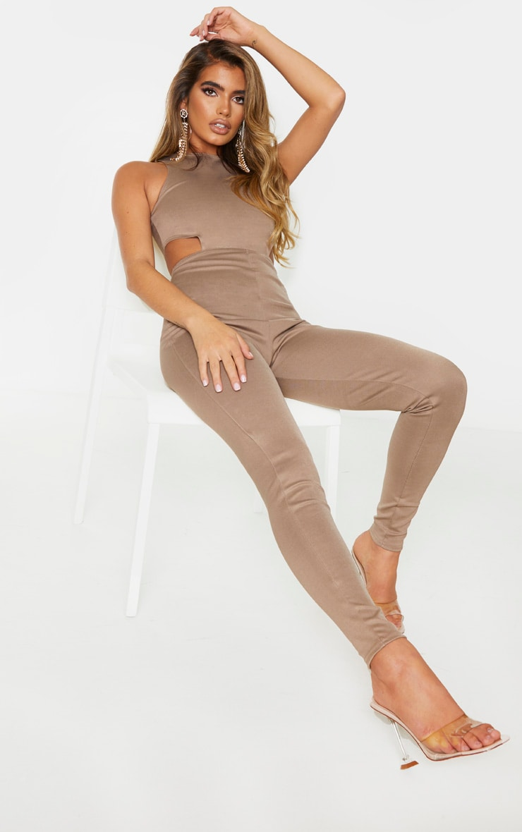Camel Bandage Cut Out Jumpsuit 3