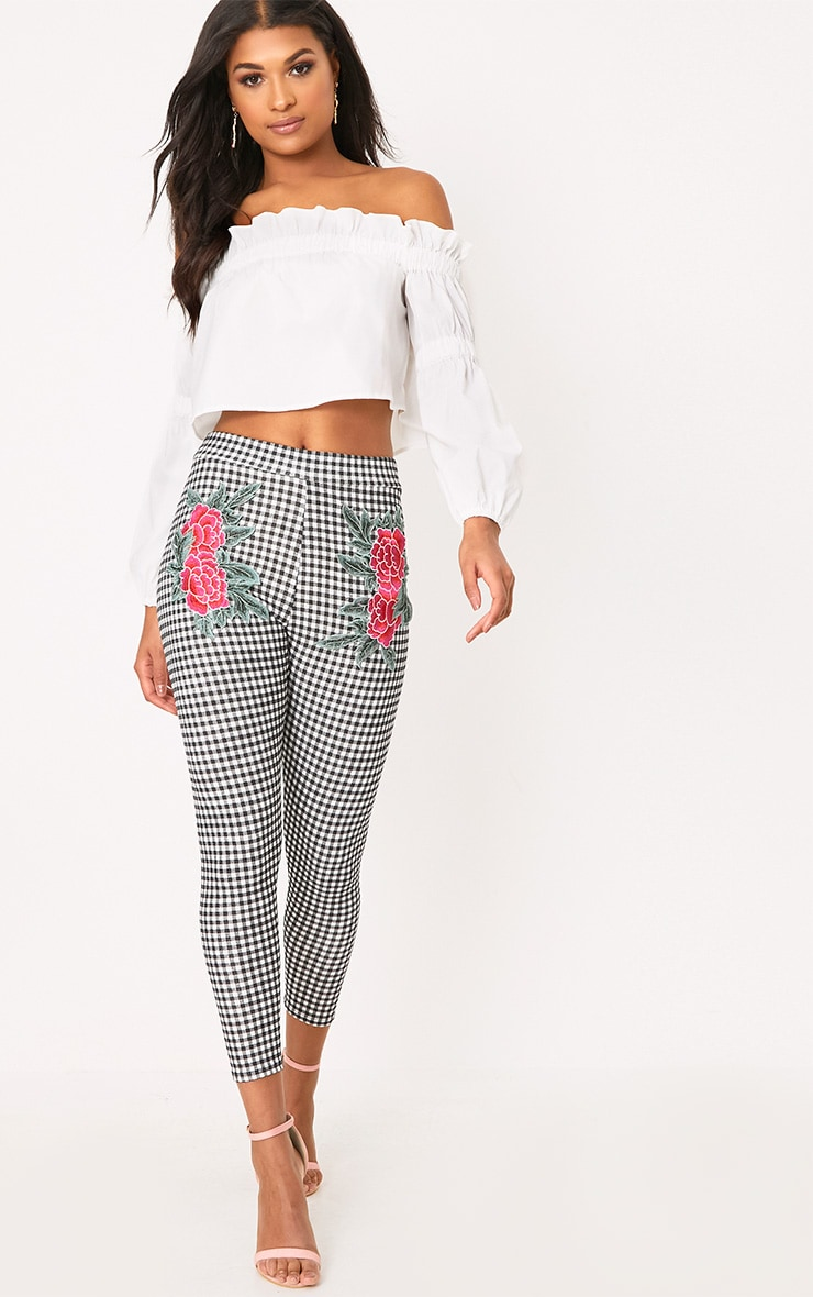 Black Gingham Applique Skinny Trousers 1