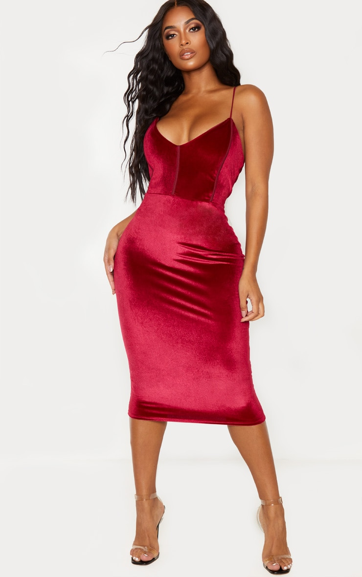 Shape Burgundy Velvet Binding Detail Midi Dress