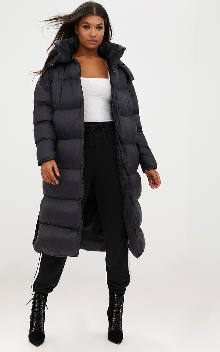 Black Oversized Longline Puffer Jacket with Hood 1