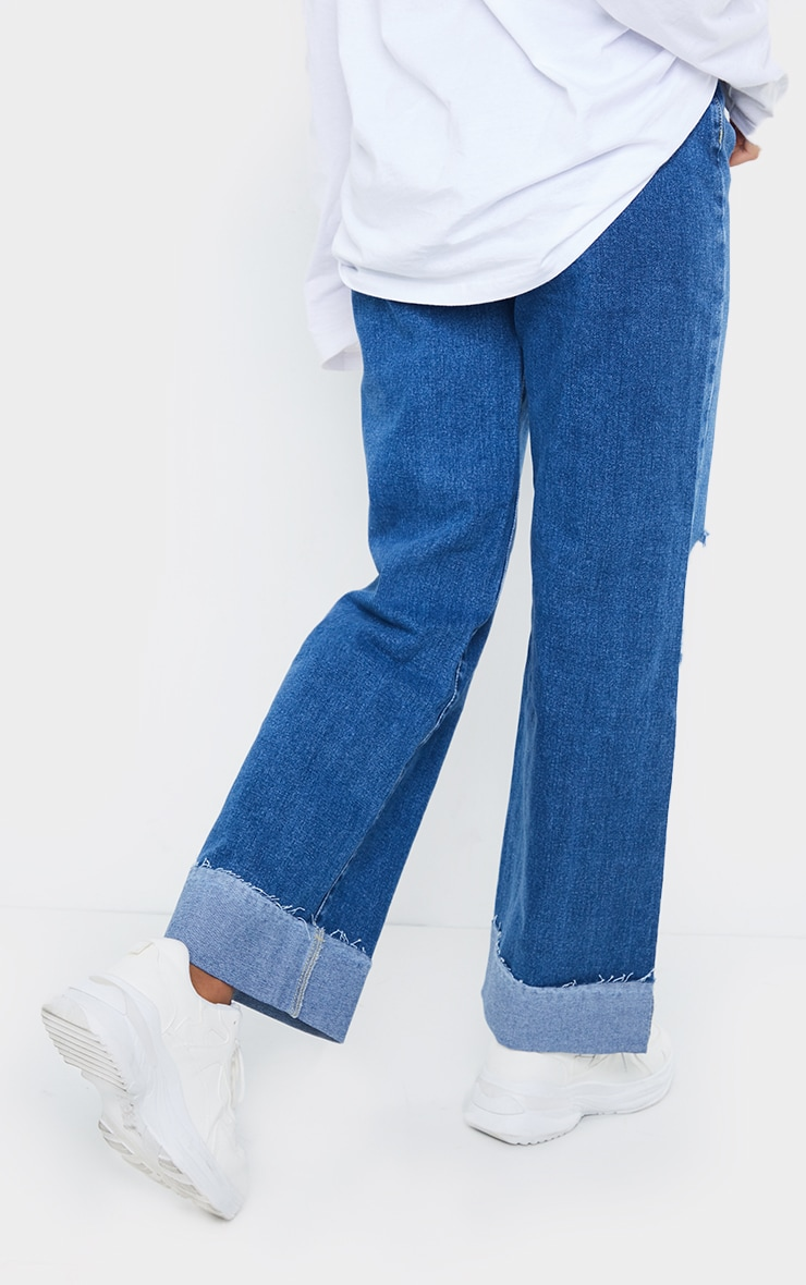 Mid Wash Open Knee Turnup Baggy Boyfriend Jeans 3