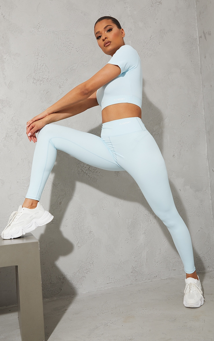 PRETTYLITTLETHING Baby Blue Sculpt Luxe Gym Leggings 1