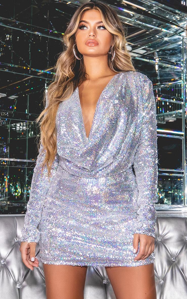3636d03c8ad Silver Sequin Cowl Neck Bodycon Dress image 1