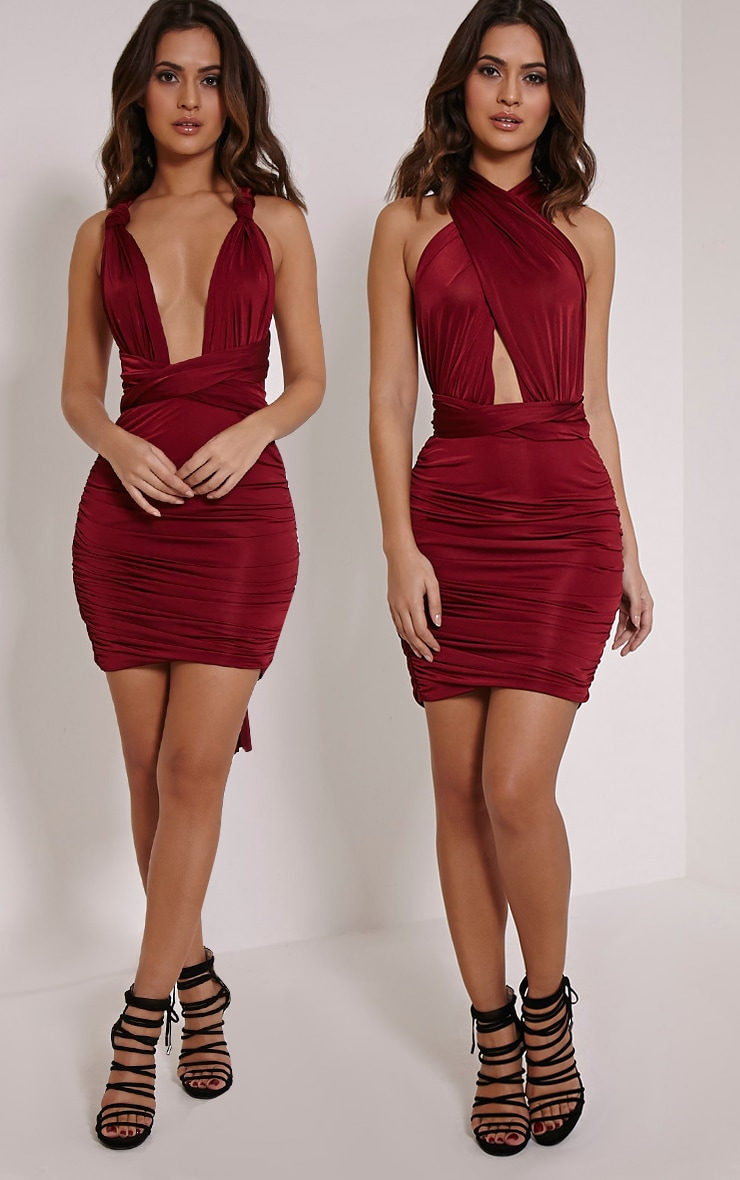 Katherine Burgundy Multiway Mini Dress 1
