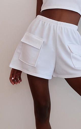 White Lightweight Pocket Detail Sweat Shorts 4