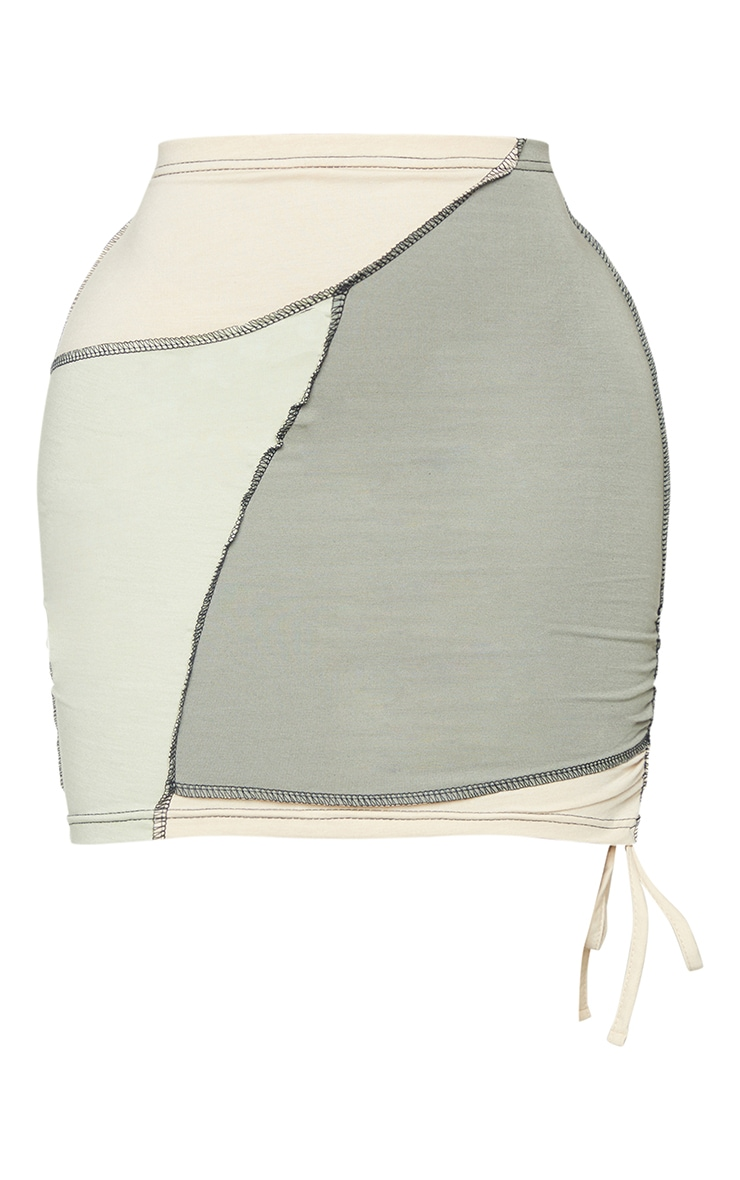 Shape Sage Green Cotton Panel Detail Ruched Side Bodycon Skirt 6