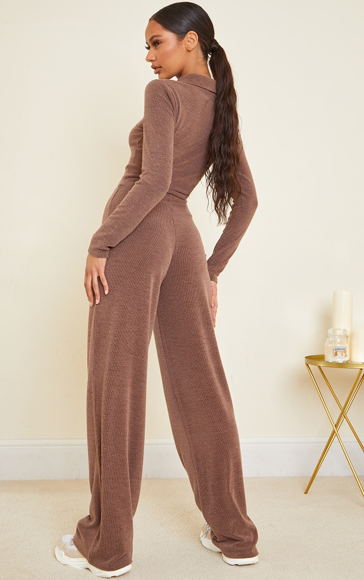 Chocolate Rib Collar Detail Zip Jumpsuit 2