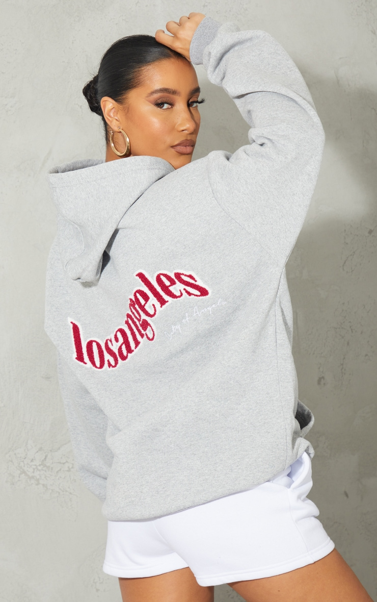 Grey Los Angeles Textured Embroidered Back Print Hoodie 1