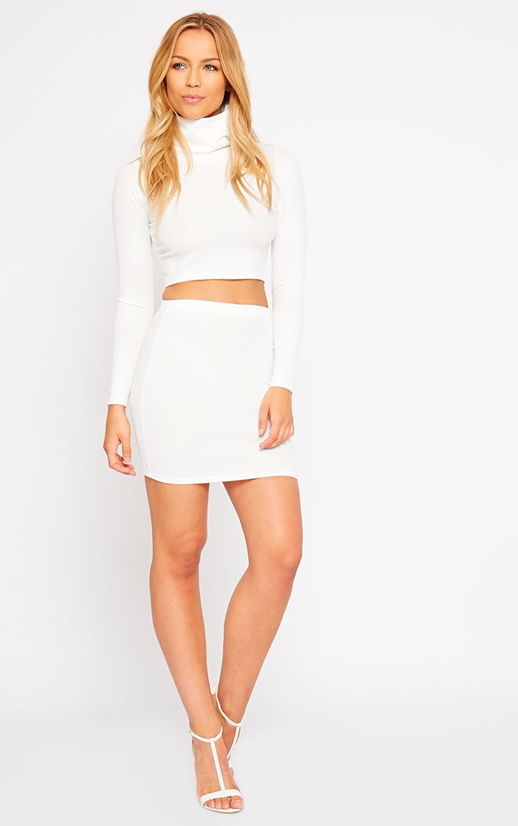 Emilia Cream Crepe Mini Skirt 5