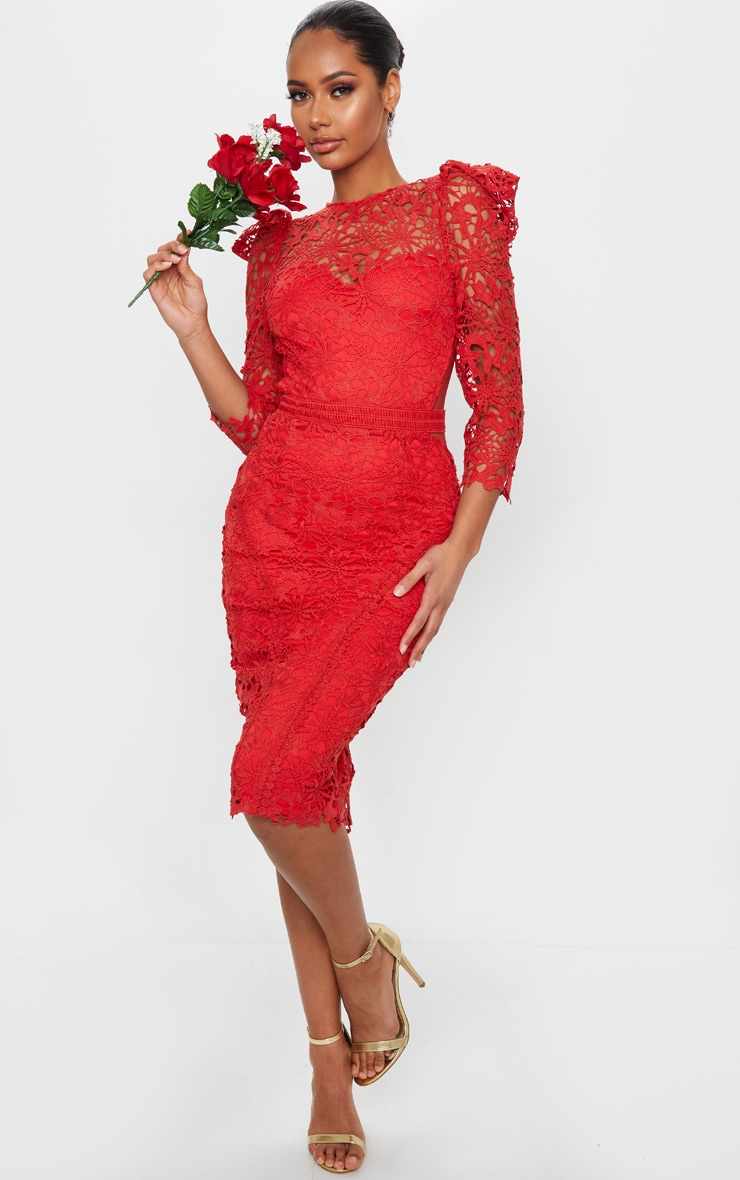 Red Lace Open Back Long Sleeve Midi Dress 1