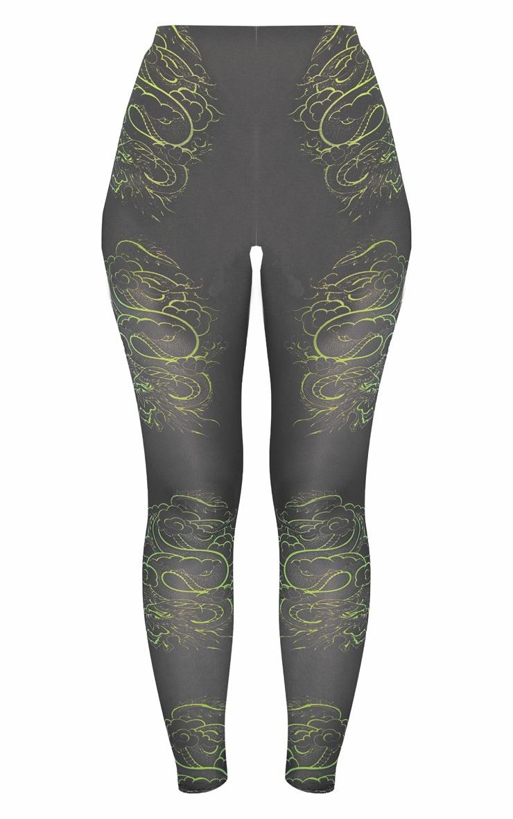 Neon Green Dragon Print Mesh Legging 3