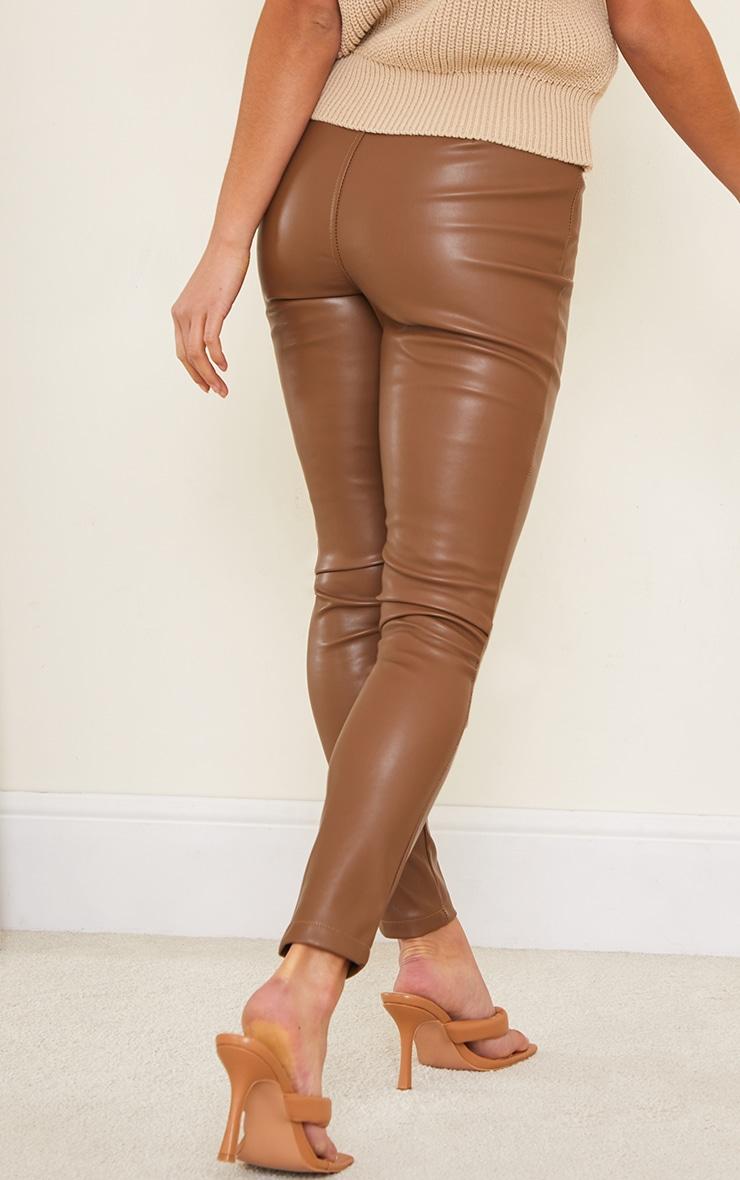 Petite Chocolate Faux Leather Stretch Leggings 3