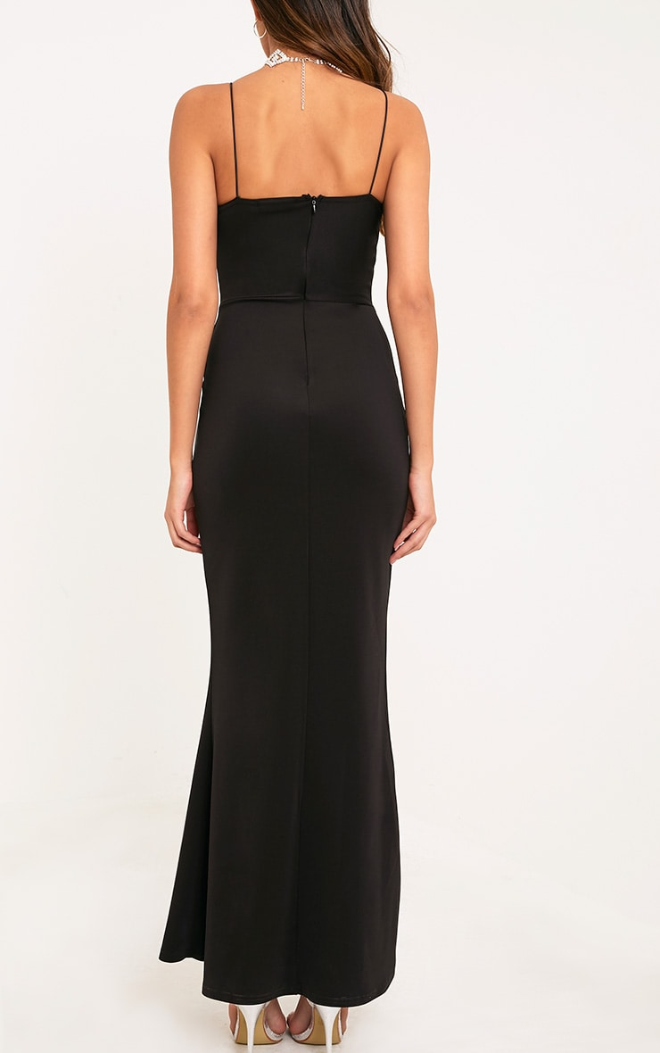 Moisha Black Frill Detail Fishtail Maxi Dress 2