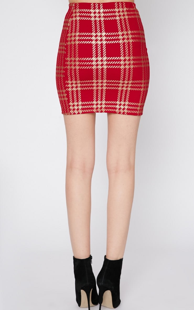 Totsi Red and Gold Checked Mini Skirt  2