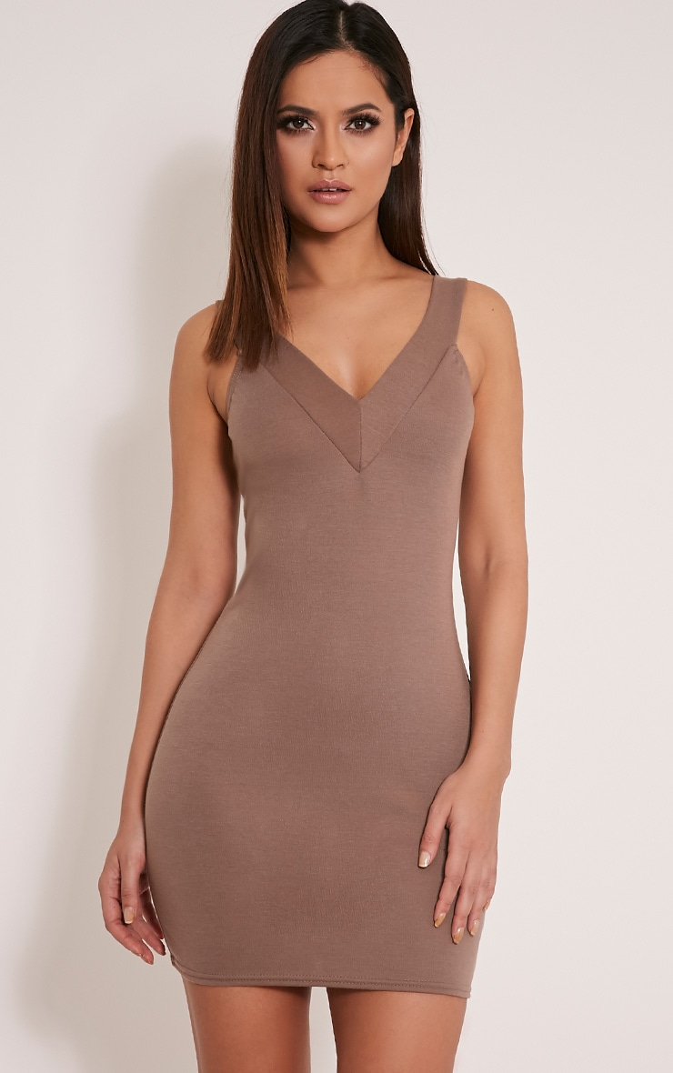 Shayla Mocha Ponte Plunge Bodycon Dress 1
