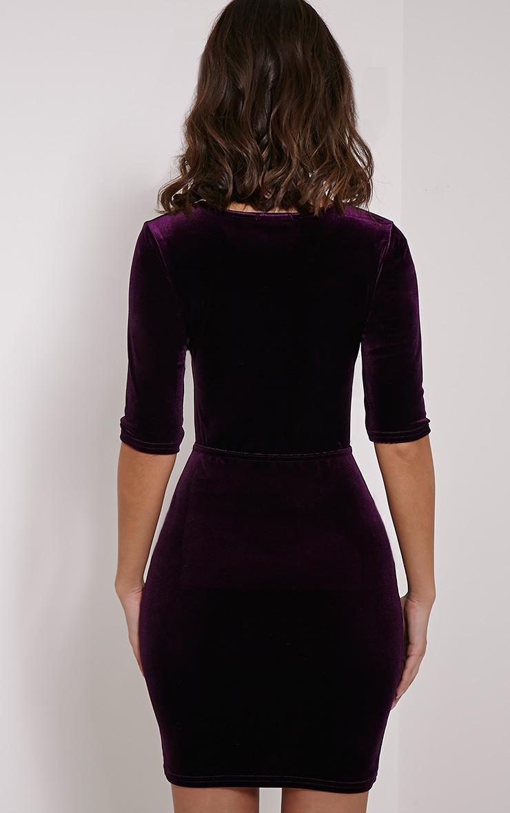 Marti Purple Velvet Cross Front Dress 2