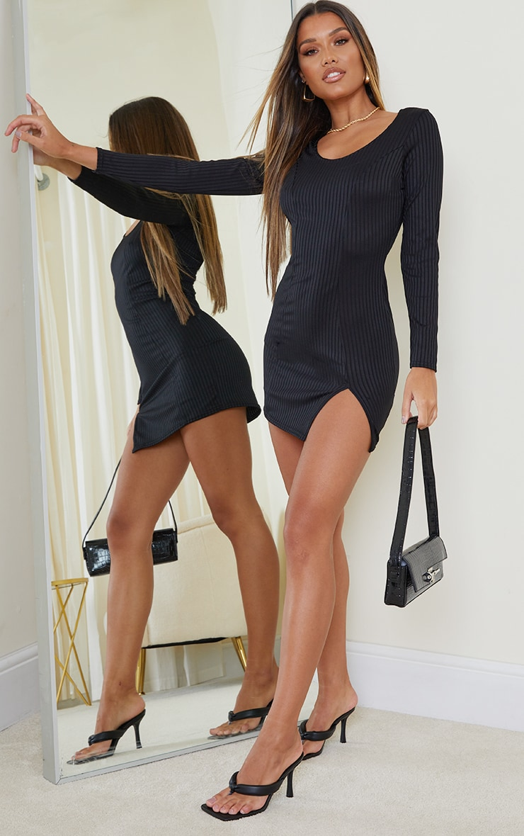 Black Ribbed Long Sleeve Split Hem Bodycon Dress 3