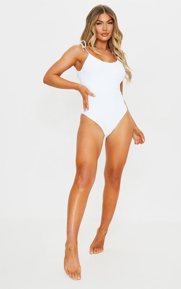 White Crinkle Tie Shoulder Swimsuit 3