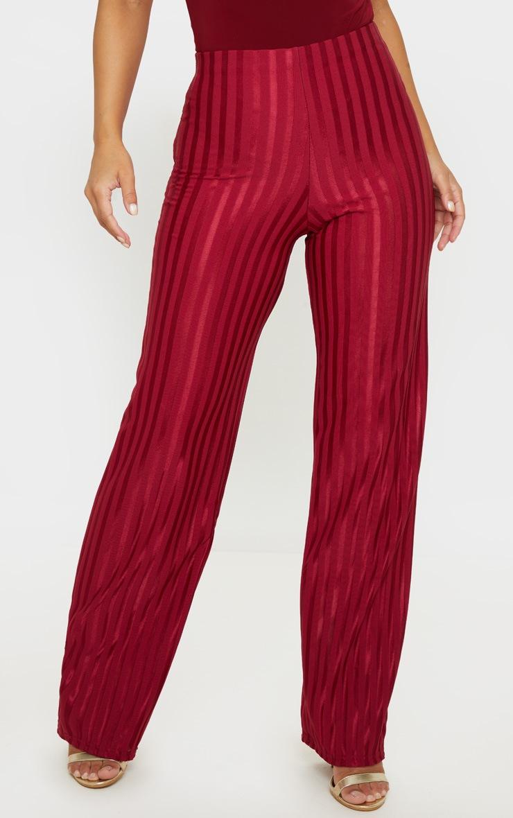 Petite Burgundy Satin Stripe Wide Leg Pants 2