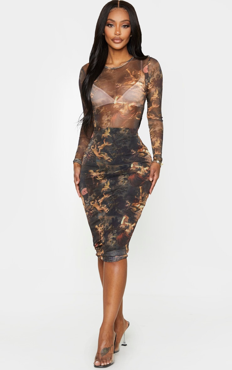 Shape Renaissance Printed Mesh Midi Skirt 1