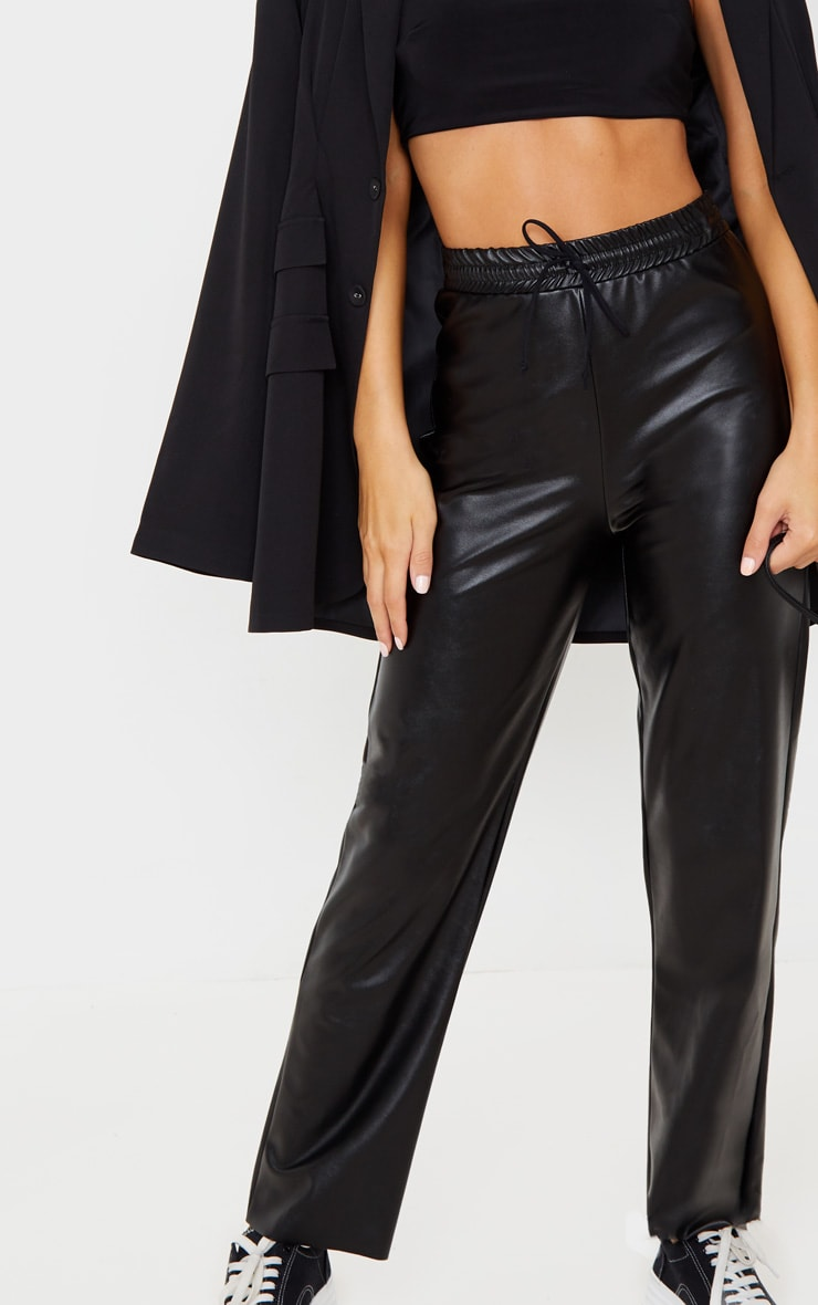 Black Faux Leather Joggers 5
