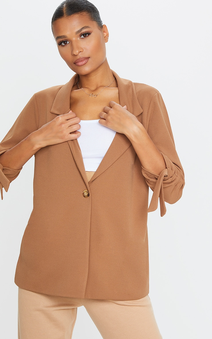 Camel Ruched Sleeve Blazer 3