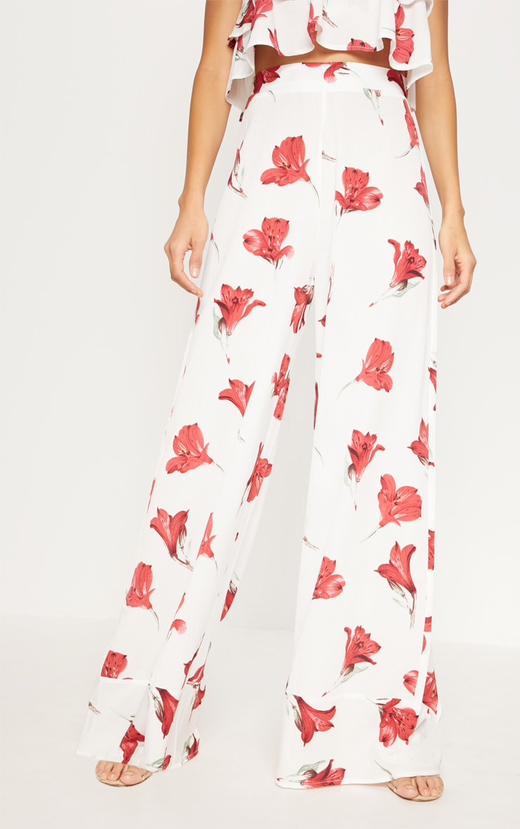White Floral Printed Wide Leg Trouser 2