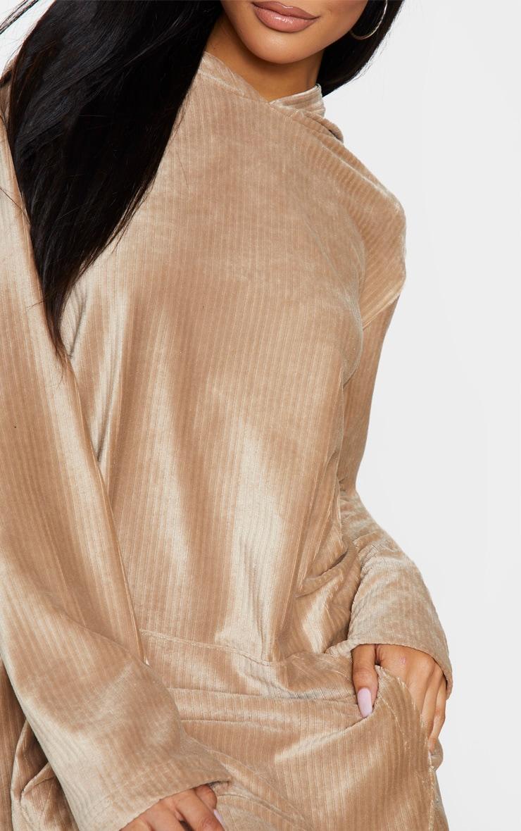 Beige Soft Rib Oversized Long Sleeve Hoodie Jumper Dress 4