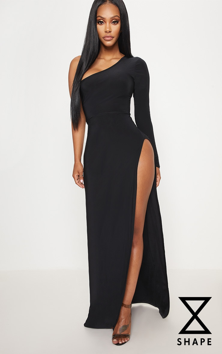 Shape Black Slinky One Shoulder Side Split Maxi Dress