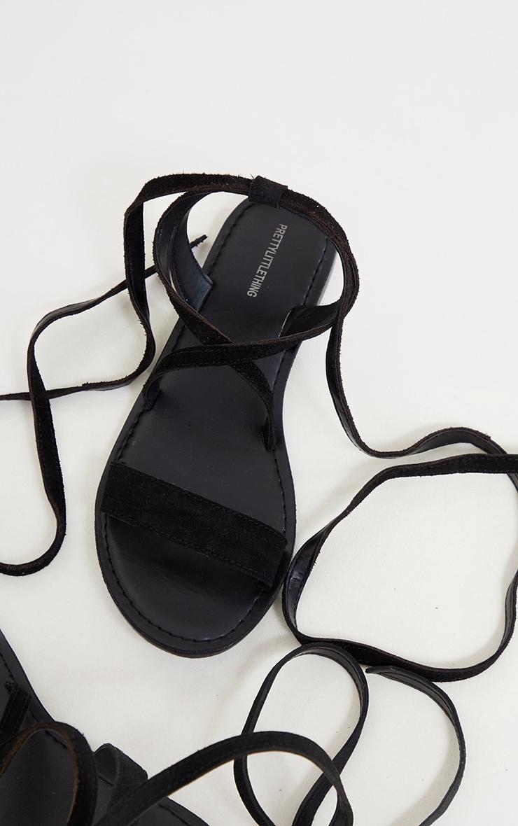 Black Wide Fit Suede Strappy Basic Sandal 4