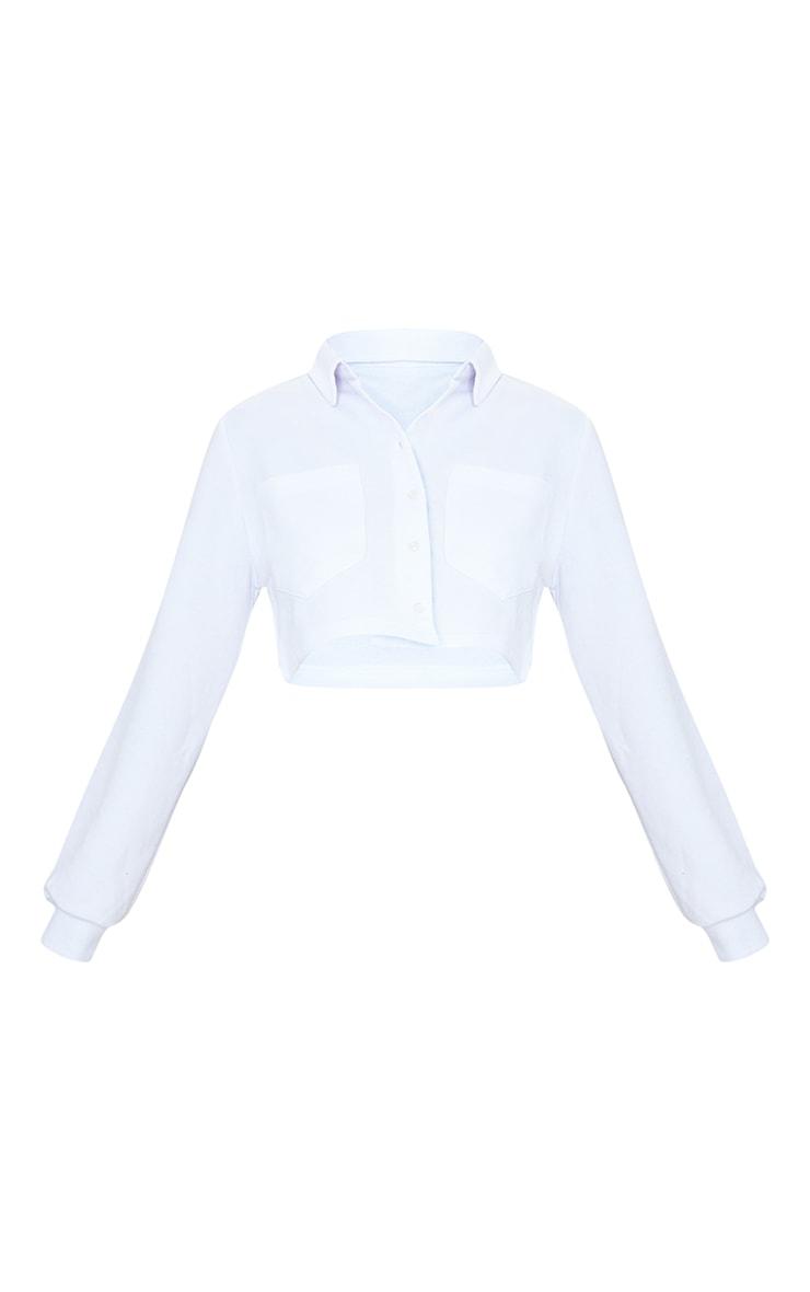 White Collar Button Front Crop Polo Shirt 5