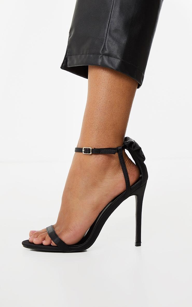 Black Satin Strappy Bow Back High Heels 3