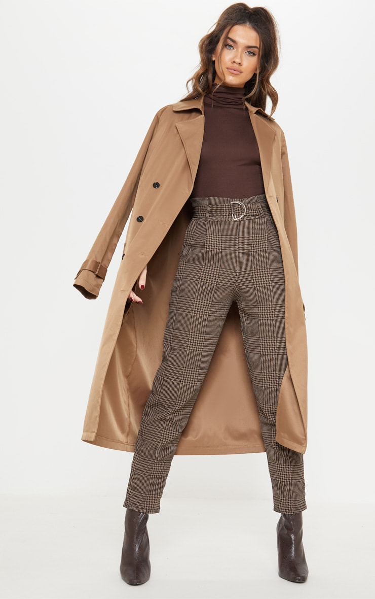 Brown Check D Ring Belted Cigarette Trouser