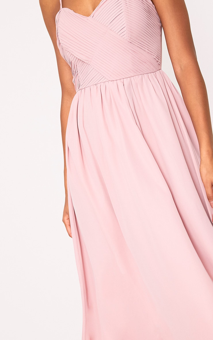 Gracelyn Dusty Pink Pleat Detail Midi Dress  5