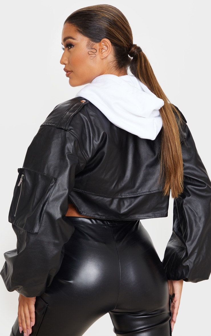 Black Faux Leather Crop Biker Jacket 2