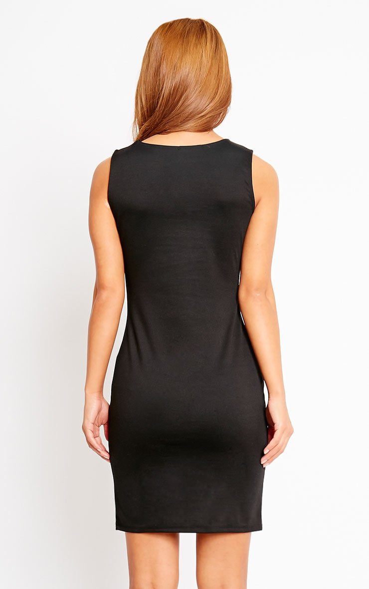 Ahana Black V-Front Hem Mini Dress 2