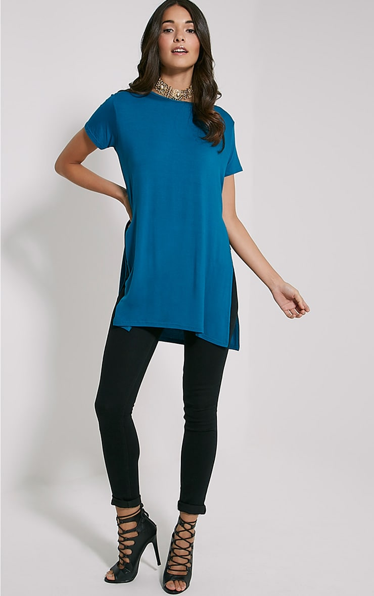 Basic Teal Side Split T-Shirt 3