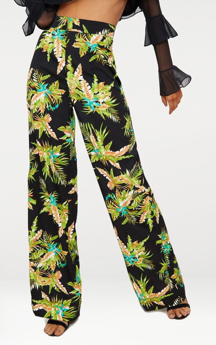 Black Tropical Print Wide Leg Trouser 2