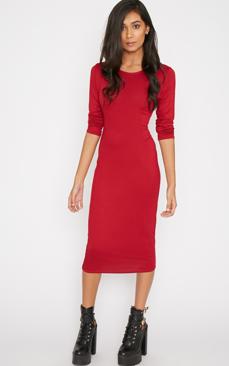 Greta Wine Long Sleeved Midi Dress 1