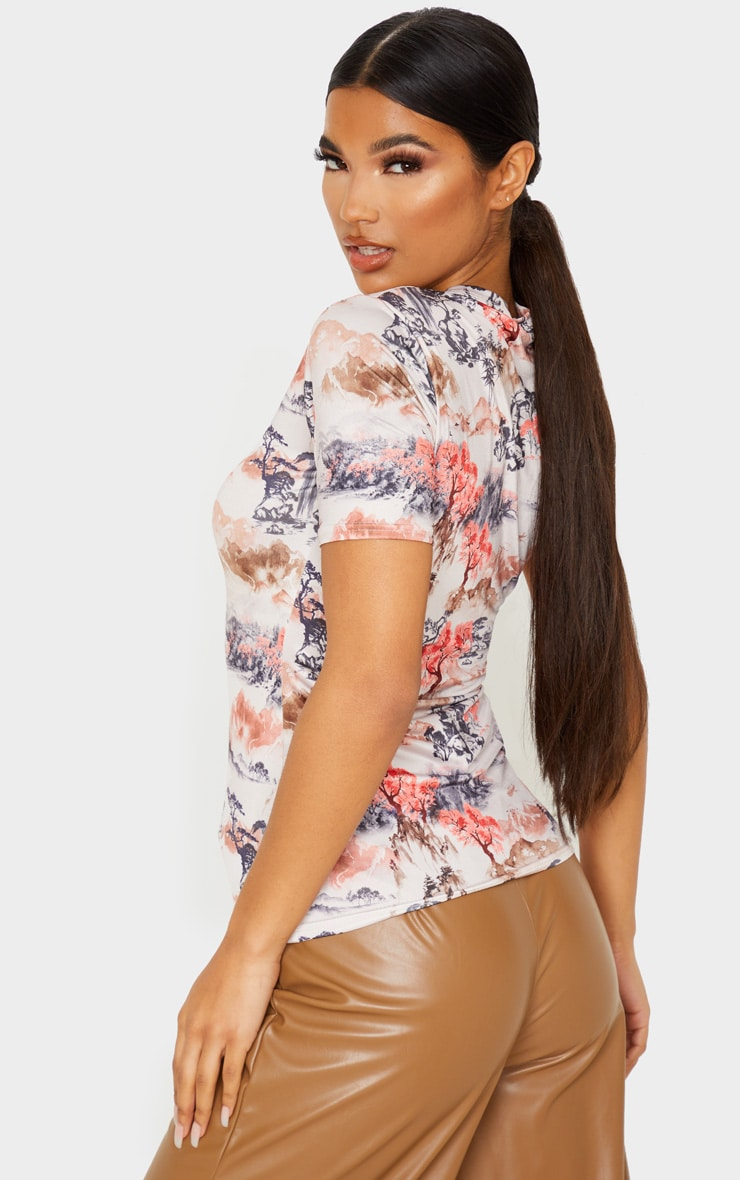 White Oriental Printed Slinky Fitted Tshirt 2