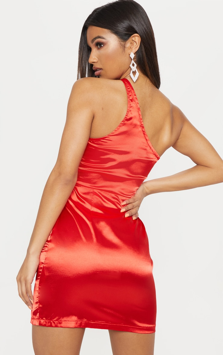 Red Satin One Shoulder Bodycon Dress 2