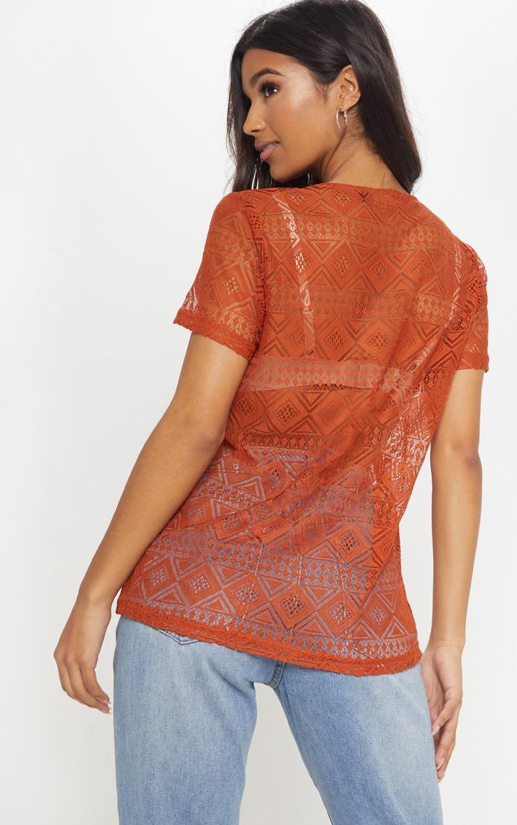Burnt Orange Cotton Crochet V Neck T-Shirt 2