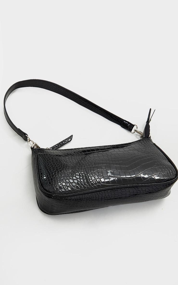 Black Croc Shoulder Bag 2