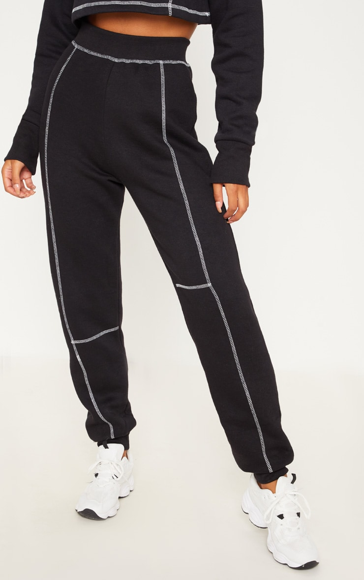 Black Contrast Stitch Cuff Track Pants 2