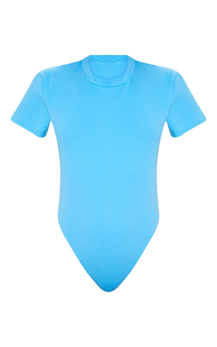 Blue Cotton Stretch T Shirt Thong Bodysuit  3