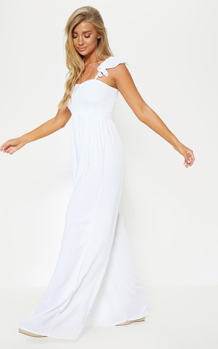 White Frill Strap Beach Jumpsuit 3