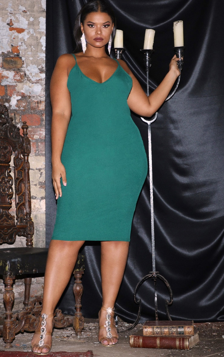 Plus Emerald Green Ribbed Plunge Midi Dress